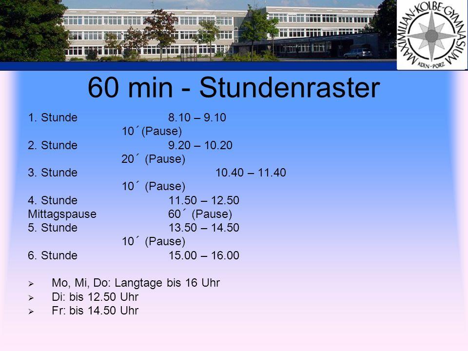 60 min - Stundenraster 1. Stunde 8.10 – 9.10 10´(Pause) 2. Stunde 9.20 – 10.20 20´ (Pause) 3. Stunde10.40 – 11.40 10´ (Pause) 4. Stunde 11.50 – 12.50