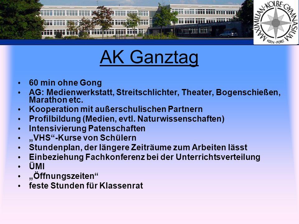 AK Ganztag 60 min ohne Gong AG: Medienwerkstatt, Streitschlichter, Theater, Bogenschießen, Marathon etc. Kooperation mit außerschulischen Partnern Pro