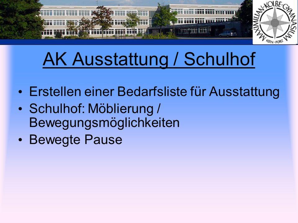 AK Ausstattung / Schulhof Erstellen einer Bedarfsliste für Ausstattung Schulhof: Möblierung / Bewegungsmöglichkeiten Bewegte Pause