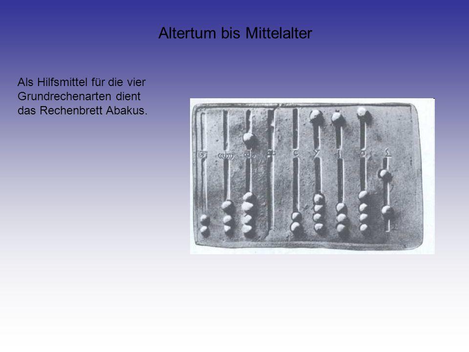 Altertum bis Mittelalter Als Hilfsmittel für die vier Grundrechenarten dient das Rechenbrett Abakus.