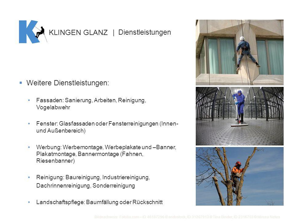 Weitere Dienstleistungen: Fassaden: Sanierung, Arbeiten, Reinigung, Vogelabwehr Fenster: Glasfassaden oder Fensterreinigungen (Innen- und Außenbereich