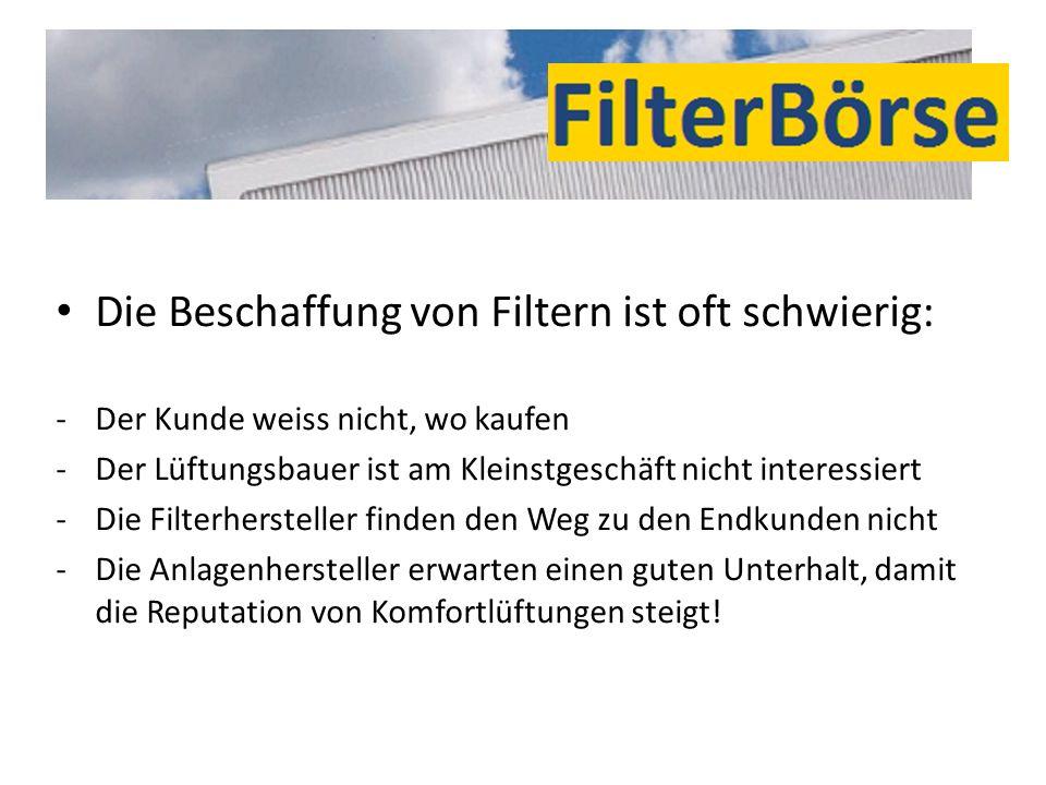 Die Beschaffung von Filtern ist oft schwierig: -Der Kunde weiss nicht, wo kaufen -Der Lüftungsbauer ist am Kleinstgeschäft nicht interessiert -Die Fil