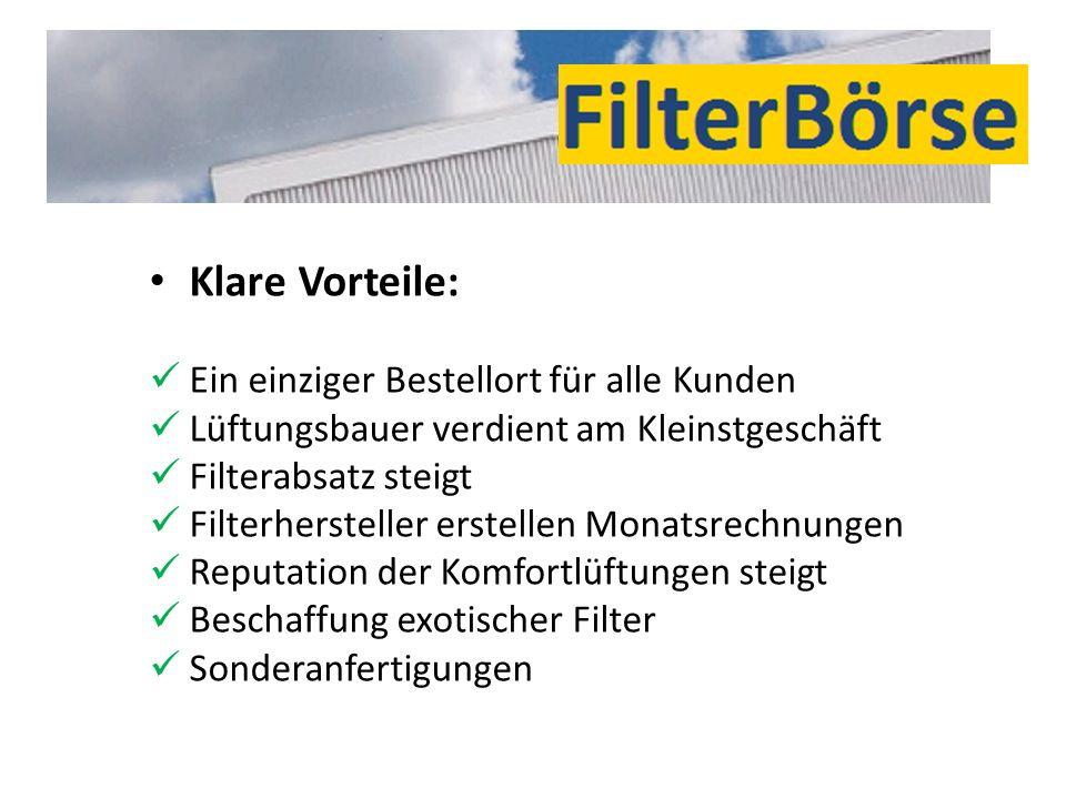 Klare Vorteile: Ein einziger Bestellort für alle Kunden Lüftungsbauer verdient am Kleinstgeschäft Filterabsatz steigt Filterhersteller erstellen Monat