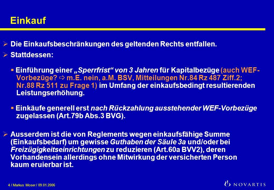 4 / Markus Moser / 09.01.2006 Einkauf Die Einkaufsbeschränkungen des geltenden Rechts entfallen. Stattdessen: Einführung einer Sperrfrist von 3 Jahren