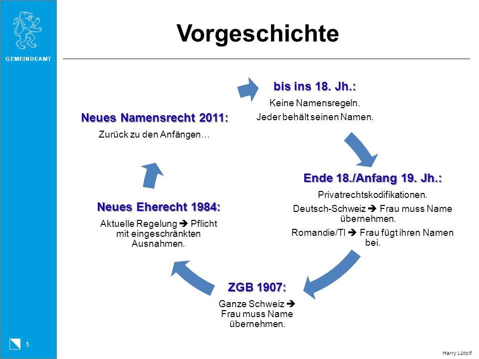 GEMEINDEAMT 2 Harry Lütolf Name der Ehegatten: Regel Neues Namensrecht Bisheriges Namensrecht Eheschliessung Eheschliessung (aZGB Art.