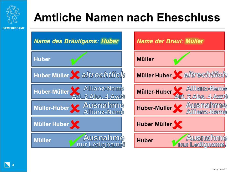 GEMEINDEAMT 4 Amtliche Namen nach Eheschluss HuberMüller Huber Müller Huber-Müller Müller-Huber Müller Huber Müller Müller Huber Müller-Huber Huber-Mü