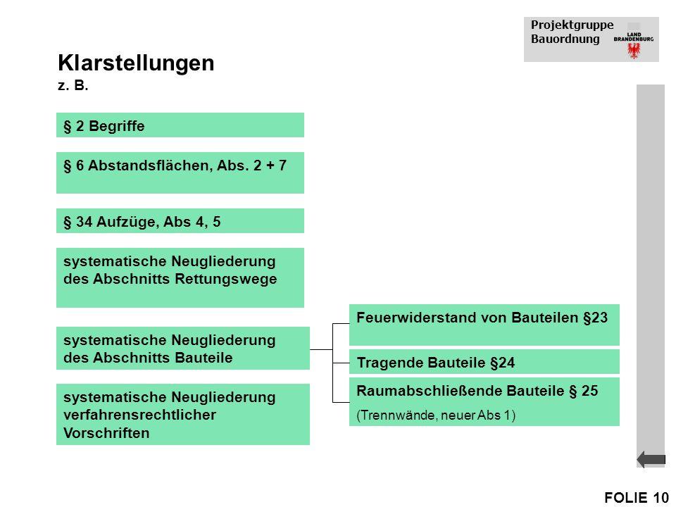 Projektgruppe Bauordnung FOLIE 10 Klarstellungen z. B. § 2 Begriffe § 6 Abstandsflächen, Abs. 2 + 7 § 34 Aufzüge, Abs 4, 5 systematische Neugliederung