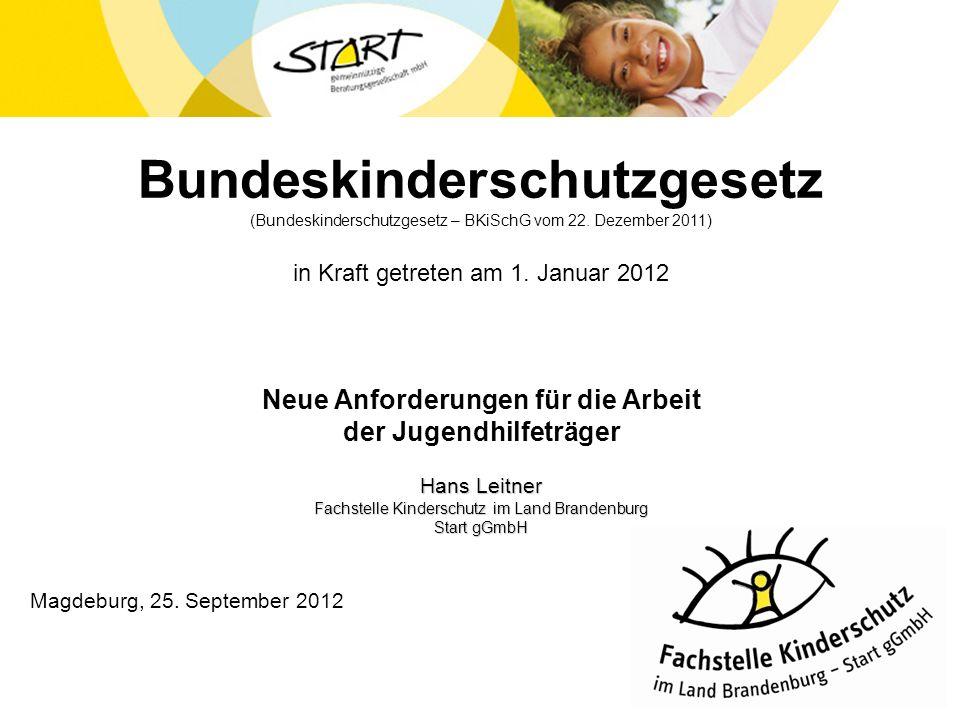 Bundeskinderschutzgesetz (Bundeskinderschutzgesetz – BKiSchG vom 22. Dezember 2011) in Kraft getreten am 1. Januar 2012 Neue Anforderungen für die Arb