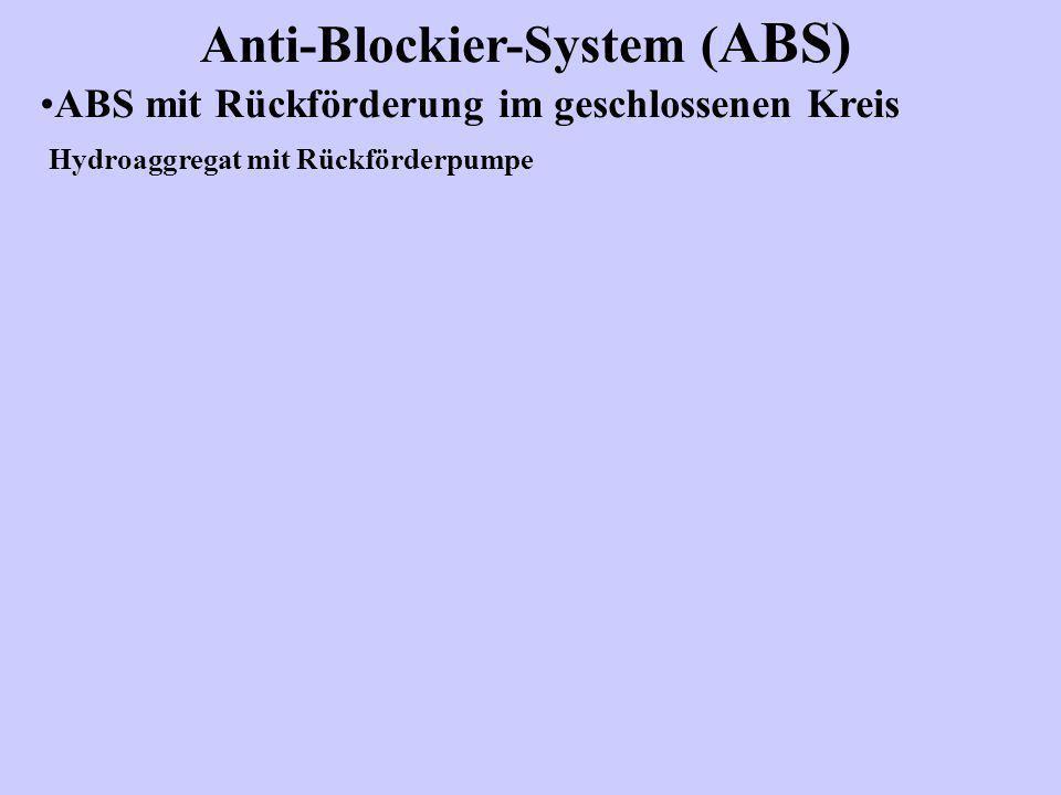 Anti-Blockier-System ( ABS) Wirkungsweise mit 2/2 -Magnetventilen ABS mit Rückförderung im schliessen Kreis und mit 2/2 –Magnetventilen