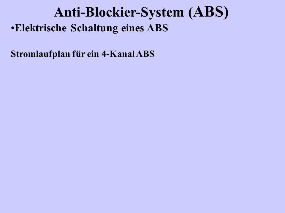 Anti-Blockier-System ( ABS) Elektrische Schaltung eines ABS Stromlaufplan für ein 4-Kanal ABS