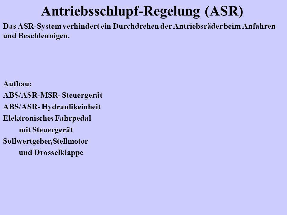 Antriebsschlupf-Regelung (ASR) Das ASR-System verhindert ein Durchdrehen der Antriebsräder beim Anfahren und Beschleunigen. Aufbau: ABS/ASR-MSR- Steue