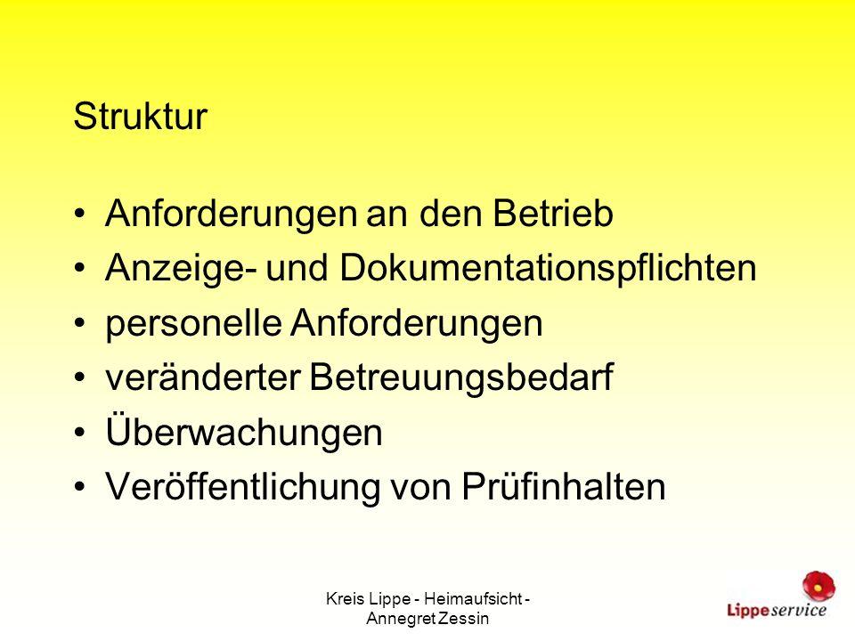 Kreis Lippe - Heimaufsicht - Annegret Zessin Struktur Anforderungen an den Betrieb Anzeige- und Dokumentationspflichten personelle Anforderungen verän