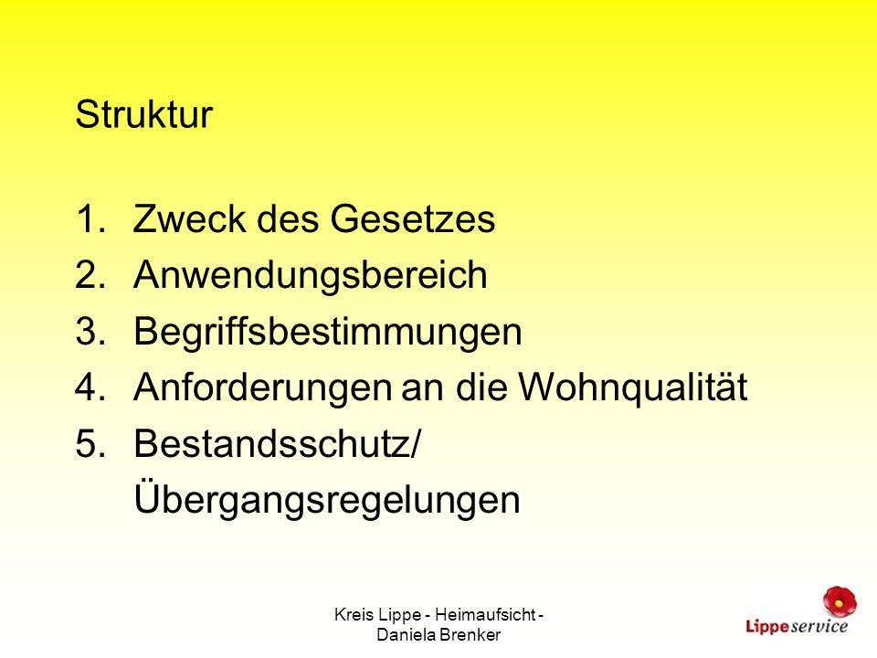Kreis Lippe - Heimaufsicht - Daniela Brenker Struktur 1.Zweck des Gesetzes 2.Anwendungsbereich 3.Begriffsbestimmungen 4.Anforderungen an die Wohnquali