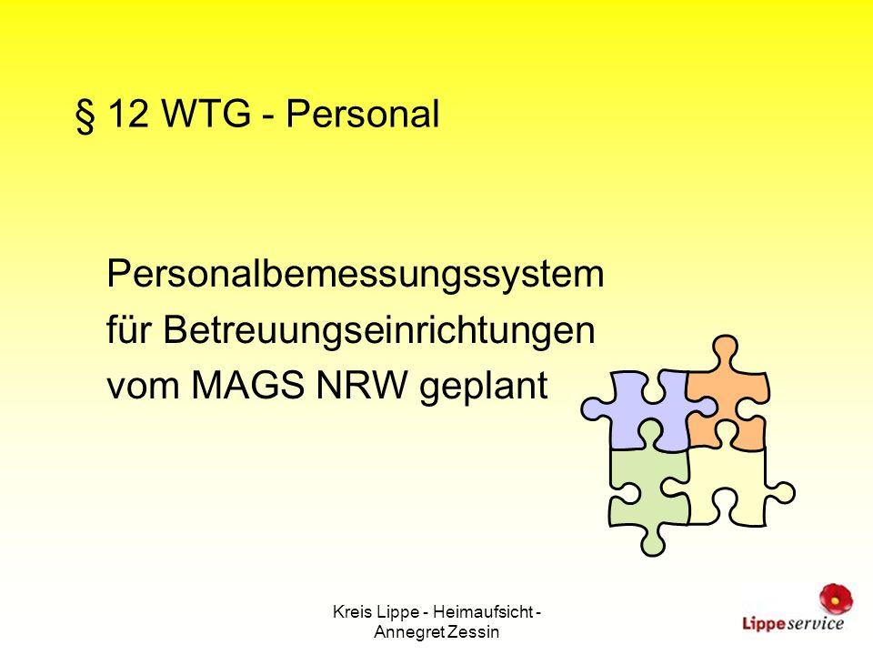 Kreis Lippe - Heimaufsicht - Annegret Zessin § 12 WTG - Personal Personalbemessungssystem für Betreuungseinrichtungen vom MAGS NRW geplant