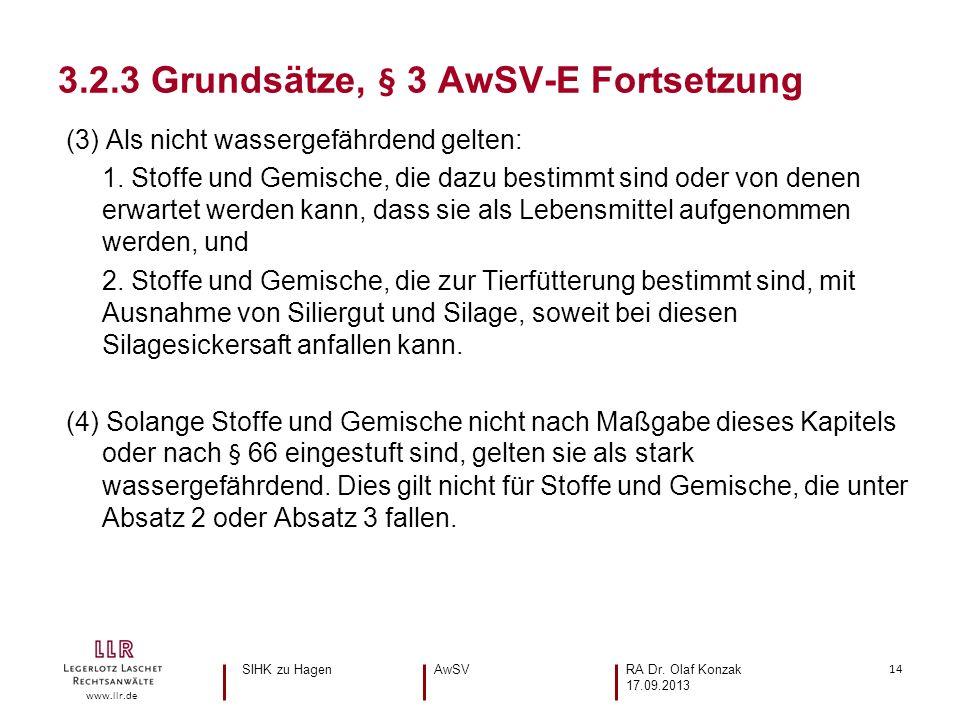 14 www.llr.de (3) Als nicht wassergefährdend gelten: 1.
