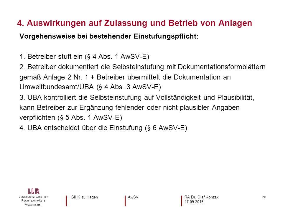 20 www.llr.de Vorgehensweise bei bestehender Einstufungspflicht: 1. Betreiber stuft ein (§ 4 Abs. 1 AwSV-E) 2. Betreiber dokumentiert die Selbsteinstu