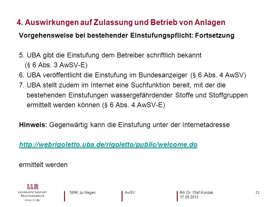 21 www.llr.de Vorgehensweise bei bestehender Einstufungspflicht: Fortsetzung 5. UBA gibt die Einstufung dem Betreiber schriftlich bekannt (§ 6 Abs. 3