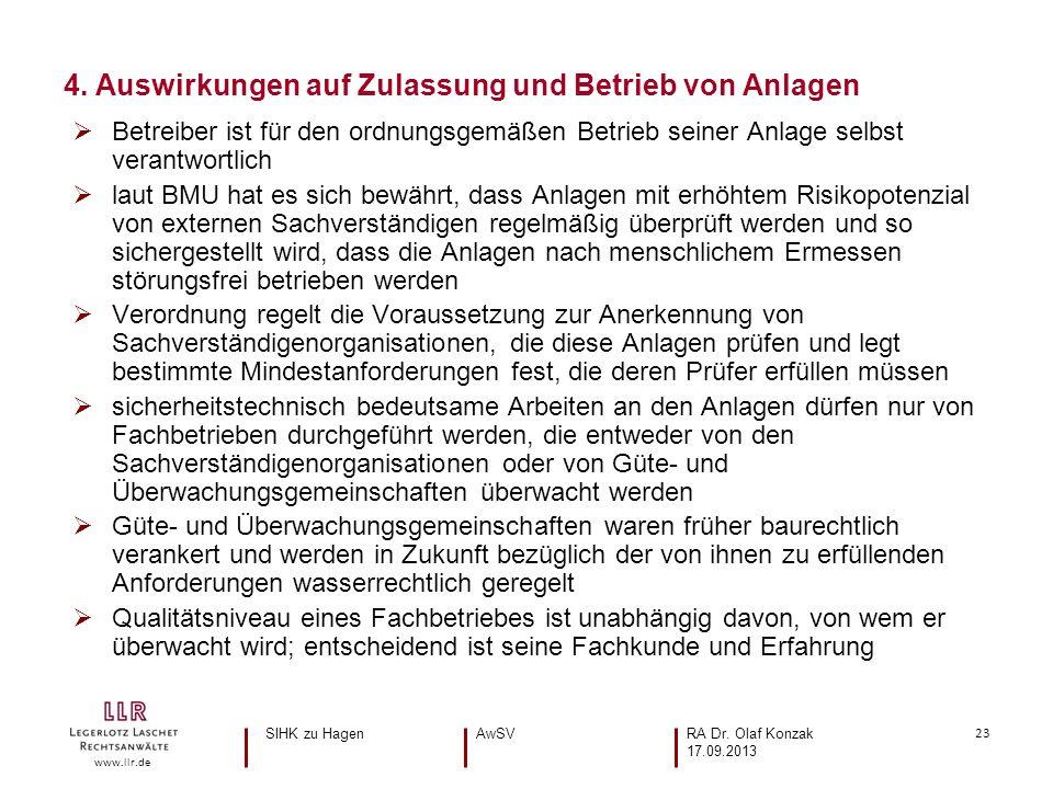 23 www.llr.de Betreiber ist für den ordnungsgemäßen Betrieb seiner Anlage selbst verantwortlich laut BMU hat es sich bewährt, dass Anlagen mit erhöhte