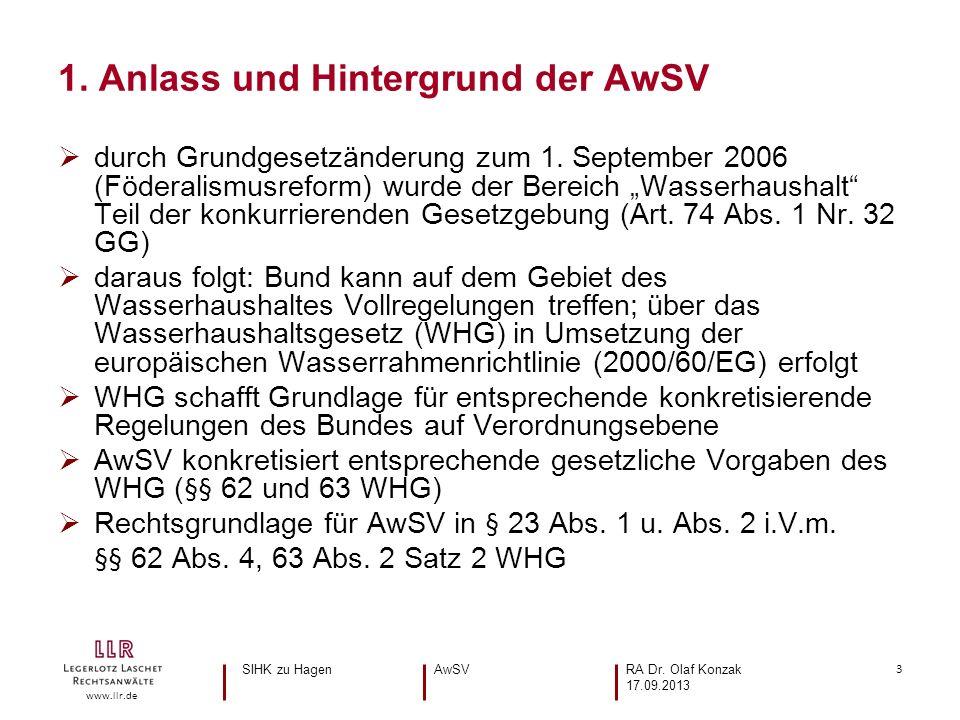 3 www.llr.de durch Grundgesetzänderung zum 1. September 2006 (Föderalismusreform) wurde der Bereich Wasserhaushalt Teil der konkurrierenden Gesetzgebu