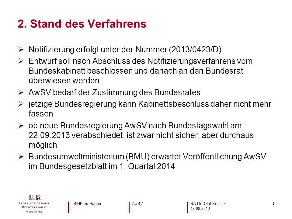 6 www.llr.de Notifizierung erfolgt unter der Nummer (2013/0423/D) Entwurf soll nach Abschluss des Notifizierungsverfahrens vom Bundeskabinett beschlos