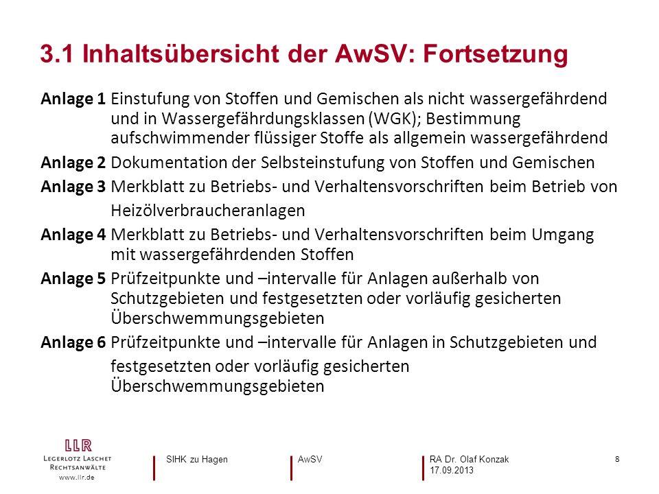 8 www.llr.de Anlage 1 Einstufung von Stoffen und Gemischen als nicht wassergefährdend und in Wassergefährdungsklassen (WGK); Bestimmung aufschwimmende