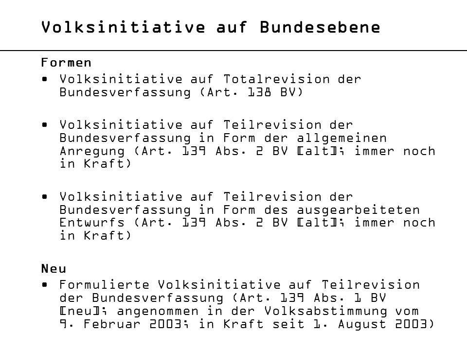 Volksinitiative auf Bundesebene Formen Volksinitiative auf Totalrevision der Bundesverfassung (Art. 138 BV) Volksinitiative auf Teilrevision der Bunde
