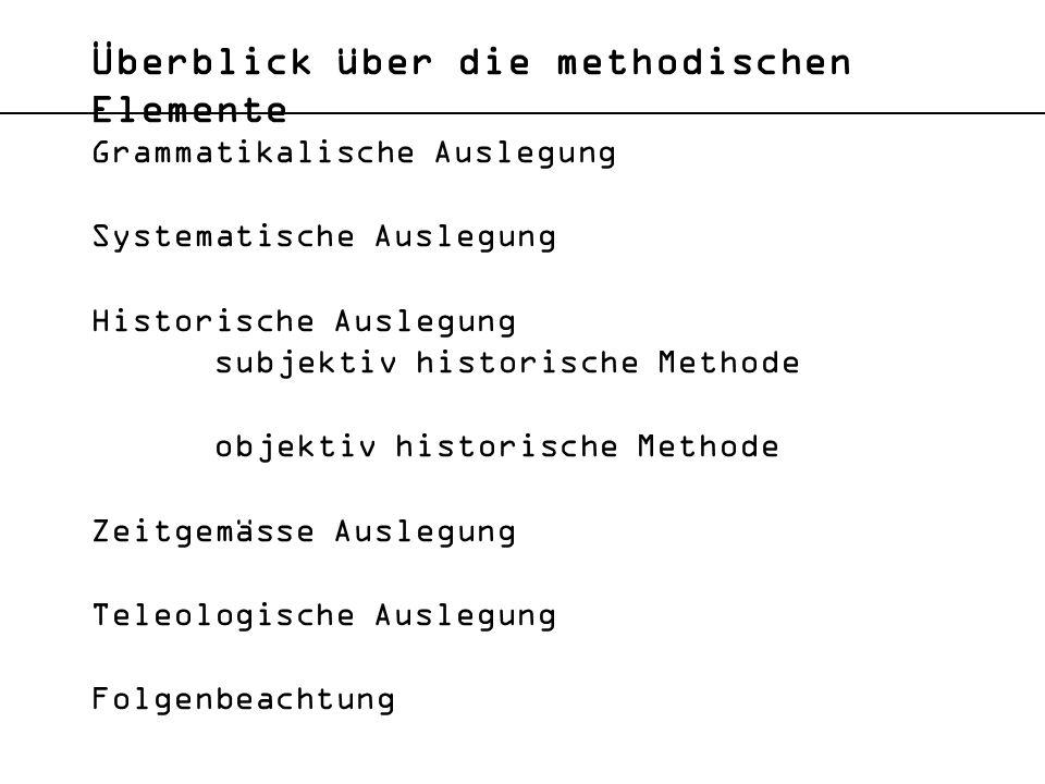 Auslegungsmethoden Art.4 aBV 1 Alle Schweizer sind vor dem Gesetze gleich.