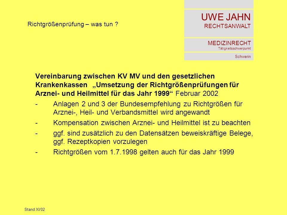 UWE JAHN RECHTSANWALT MEDIZINRECHT Tätigkeitsschwerpunkt Schwerin Stand XI/02 Richtgrößenprüfung – was tun ? Vereinbarung zwischen KV MV und den geset