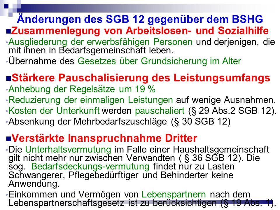 Änderungen des SGB 12 gegenüber dem BSHG Zusammenlegung von Arbeitslosen- und Sozialhilfe Ausgliederung der erwerbsfähigen Personen und derjenigen, die mit ihnen in Bedarfsgemeinschaft leben.