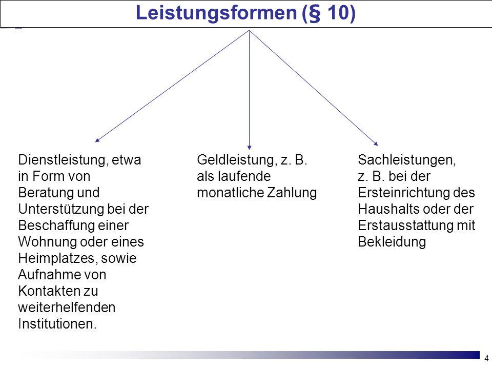 4 Leistungsformen (§ 10) Dienstleistung, etwa in Form von Beratung und Unterstützung bei der Beschaffung einer Wohnung oder eines Heimplatzes, sowie A
