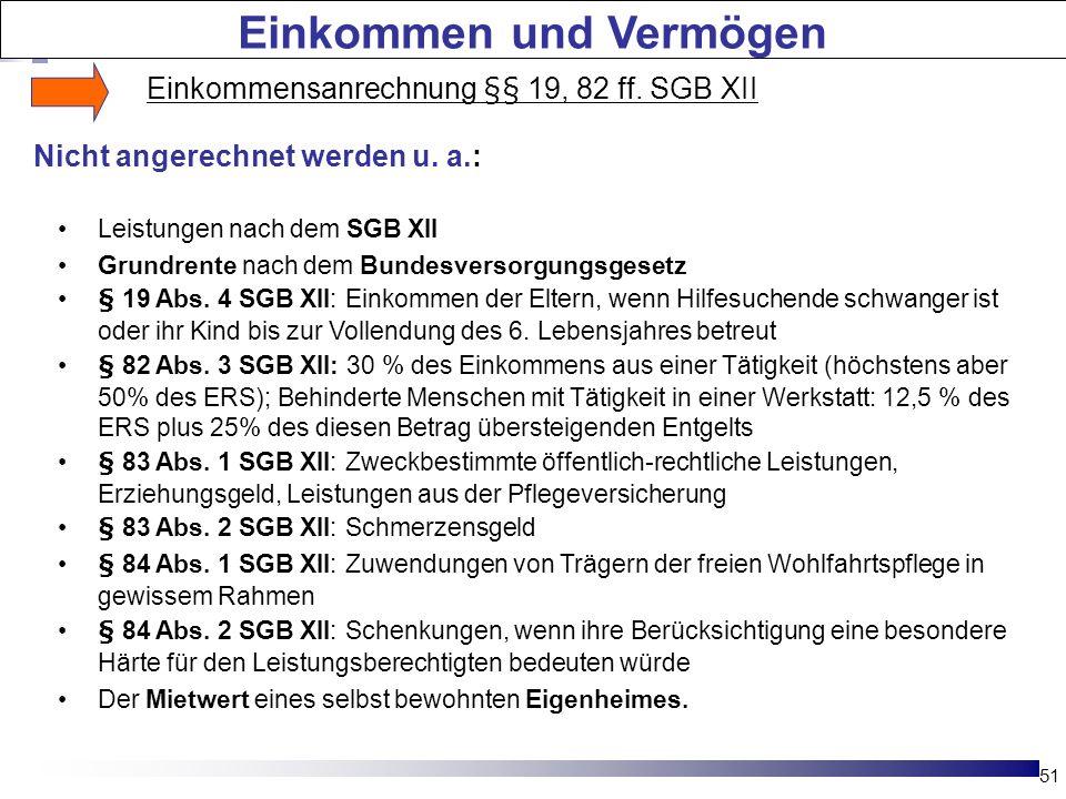 Einkommensanrechnung §§ 19, 82 ff.