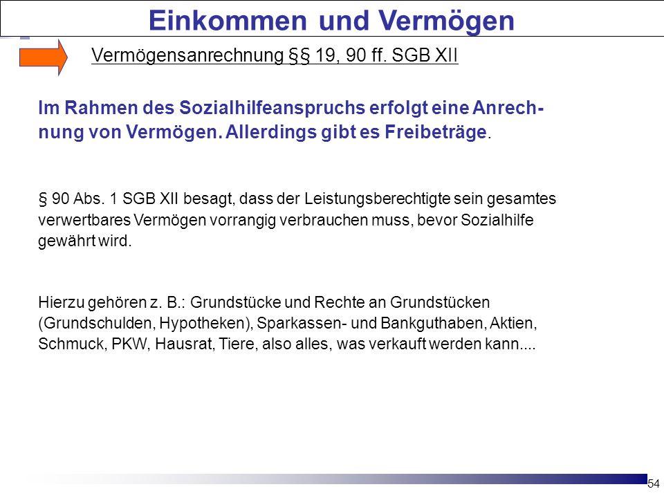 54 Die Hartz-Reformen Im Rahmen des Sozialhilfeanspruchs erfolgt eine Anrech- nung von Vermögen. Allerdings gibt es Freibeträge. § 90 Abs. 1 SGB XII b