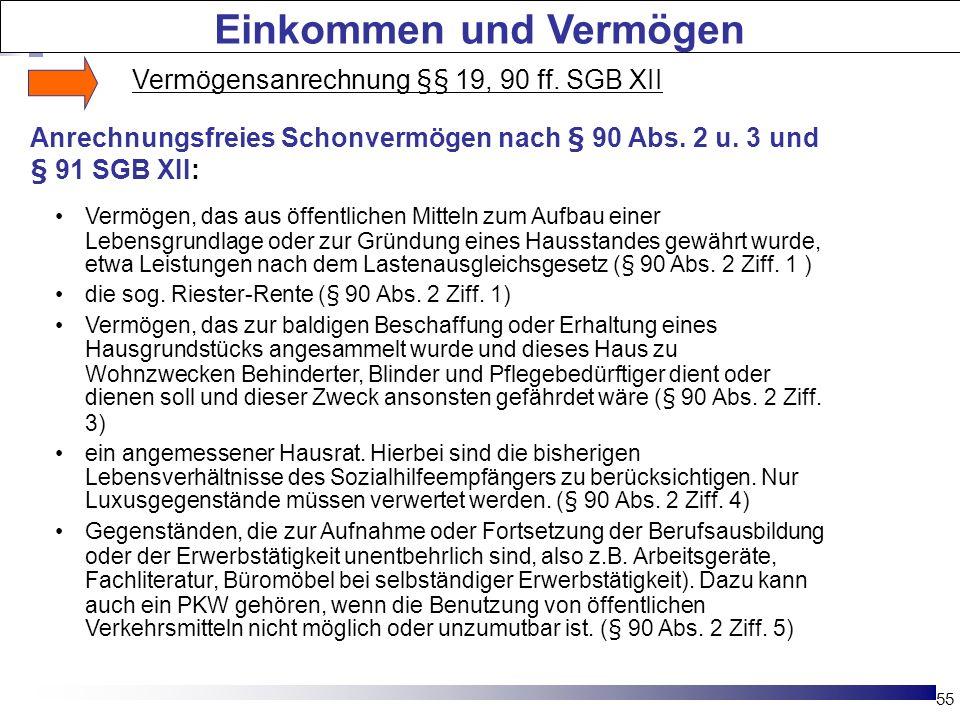 55 Die Hartz-Reformen Vermögen, das aus öffentlichen Mitteln zum Aufbau einer Lebensgrundlage oder zur Gründung eines Hausstandes gewährt wurde, etwa Leistungen nach dem Lastenausgleichsgesetz (§ 90 Abs.