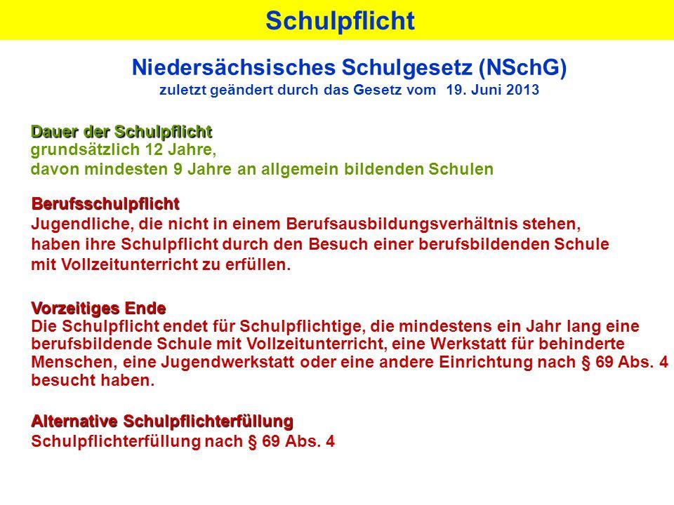 Niedersächsisches Schulgesetz (NSchG) zuletzt geändert durch das Gesetz vom 19. Juni 2013 Dauer der Schulpflicht grundsätzlich 12 Jahre, davon mindest
