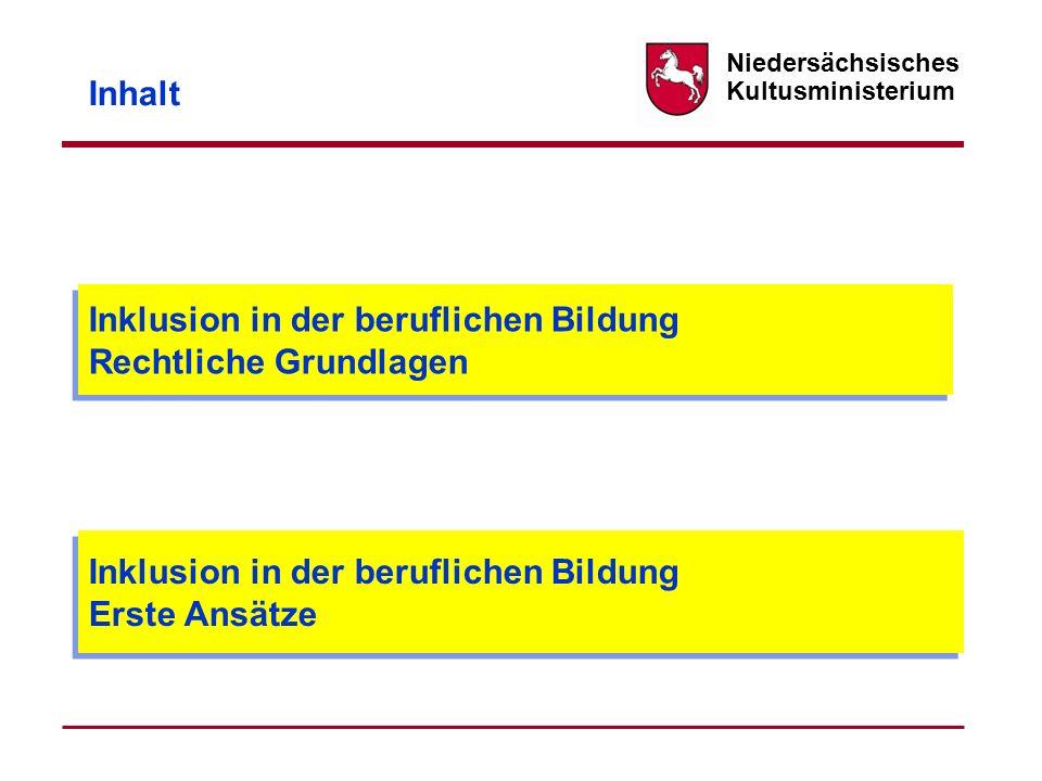 Niedersächsisches Kultusministerium Lernarrangements Qualifizierung im Rahmen einzelfallbezogener Förderung nach § 69.4 NSchG Einrichtung von BVJs, die ein zielgerichtetes Förderprofil aufweisen (Beispiel: Bad Harzburg) Aufnahme in reguläre Klassen (z.