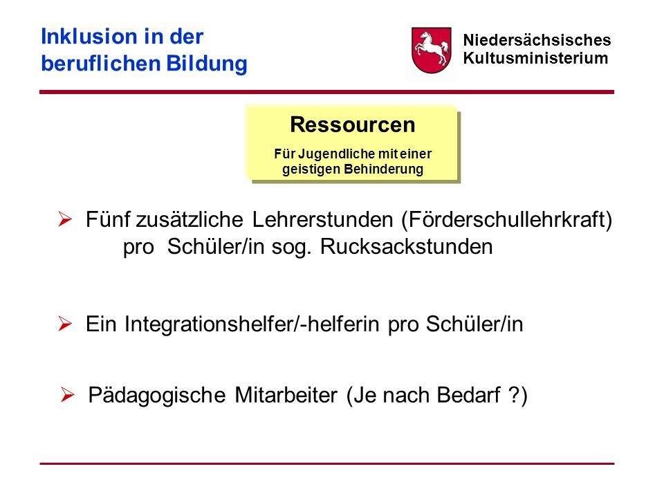 Niedersächsisches Kultusministerium Ressourcen Für Jugendliche mit einer geistigen Behinderung Fünf zusätzliche Lehrerstunden (Förderschullehrkraft) p