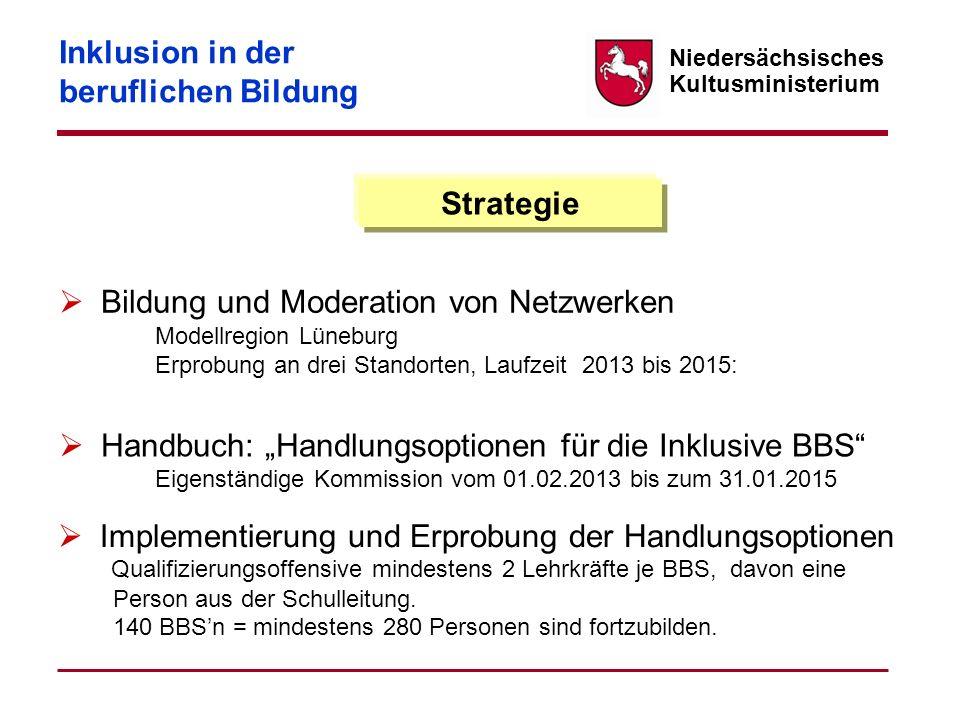 Niedersächsisches Kultusministerium Strategie Bildung und Moderation von Netzwerken Modellregion Lüneburg Erprobung an drei Standorten, Laufzeit 2013