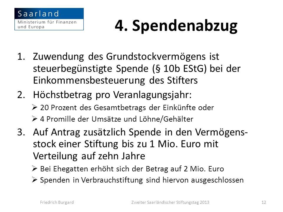 4. Spendenabzug 1.Zuwendung des Grundstockvermögens ist steuerbegünstigte Spende (§ 10b EStG) bei der Einkommensbesteuerung des Stifters 2.Höchstbetra