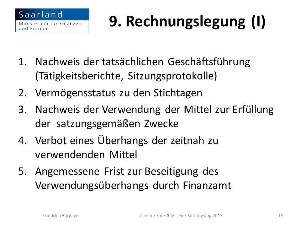 9. Rechnungslegung (I) 1.Nachweis der tatsächlichen Geschäftsführung (Tätigkeitsberichte, Sitzungsprotokolle) 2.Vermögensstatus zu den Stichtagen 3.Na
