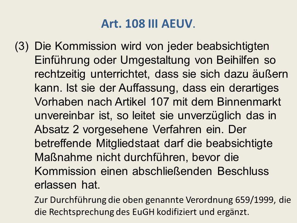 Rückforderung rechtswidriger Beihilfen i.L.v.Art.