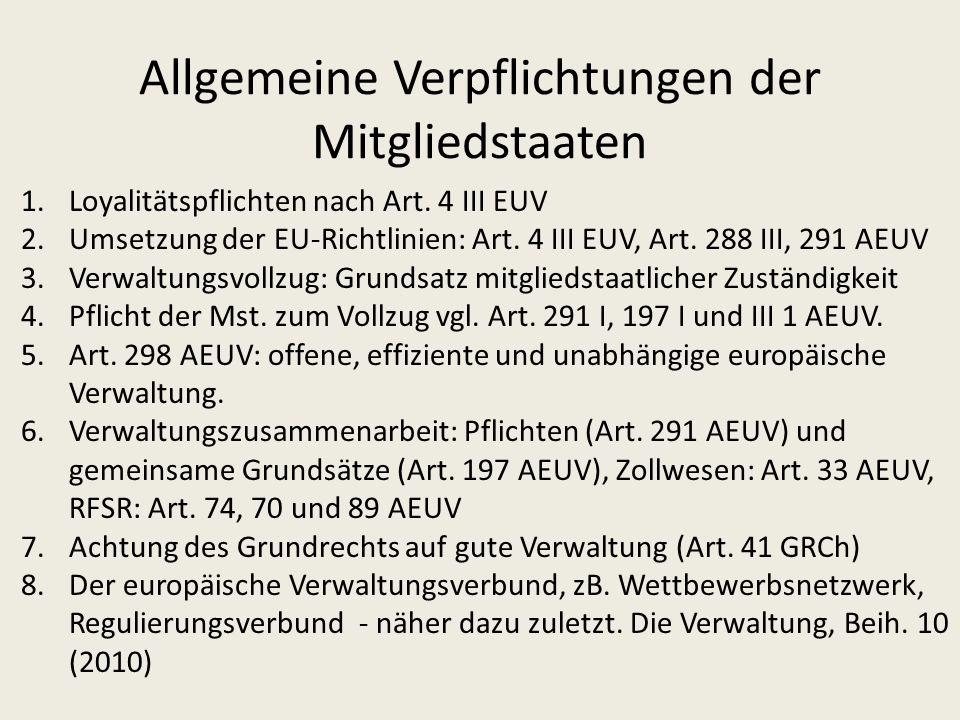 Verwaltungsvollzug in der Europäischen Gemeinschaft Direkter Vollzug durch Gemeinschaftsorgane (= Ausnahme) Verfahrensrecht: Europarecht einschl.
