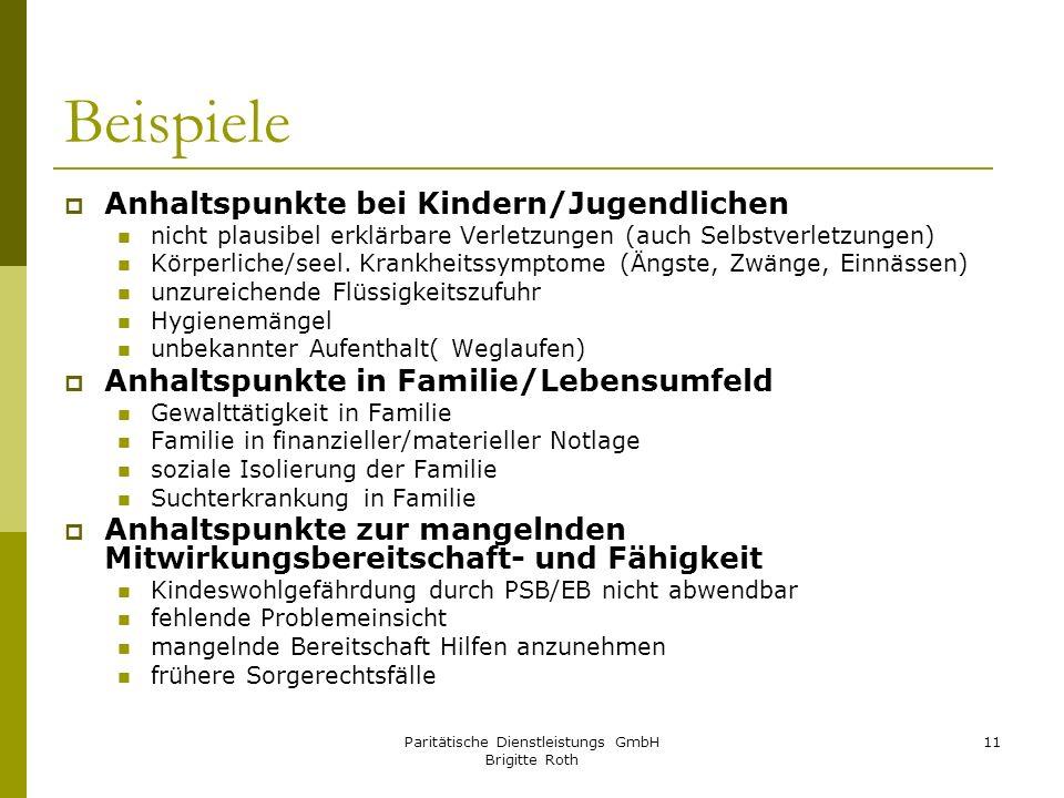 Paritätische Dienstleistungs GmbH Brigitte Roth 11 Beispiele Anhaltspunkte bei Kindern/Jugendlichen nicht plausibel erklärbare Verletzungen (auch Selb