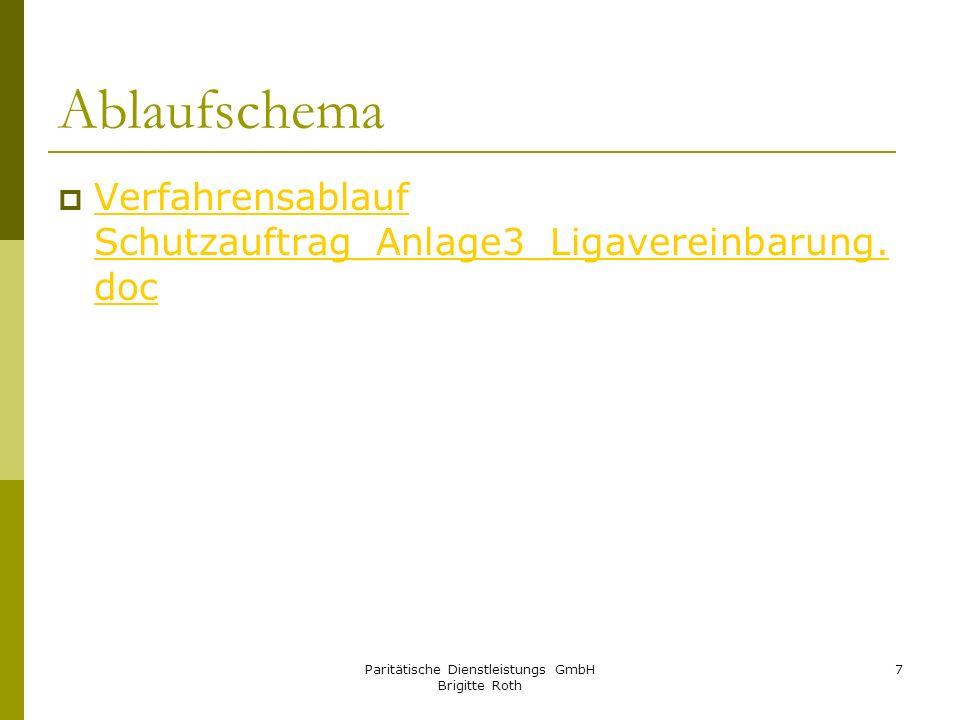 Paritätische Dienstleistungs GmbH Brigitte Roth 7 Ablaufschema Verfahrensablauf Schutzauftrag_Anlage3_Ligavereinbarung. doc Verfahrensablauf Schutzauf