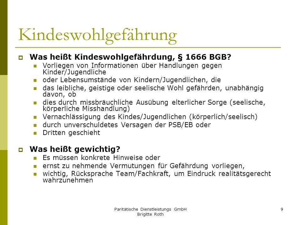 Paritätische Dienstleistungs GmbH Brigitte Roth 9 Kindeswohlgefährung Was heißt Kindeswohlgefährdung, § 1666 BGB? Vorliegen von Informationen über Han