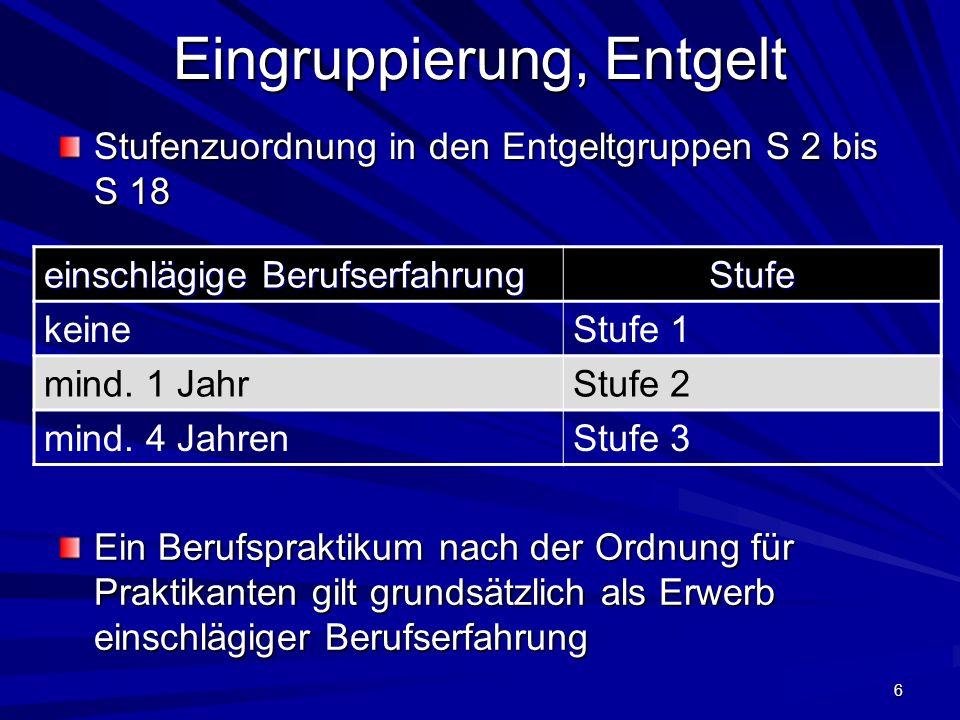 6 Eingruppierung, Entgelt Stufenzuordnung in den Entgeltgruppen S 2 bis S 18 einschlägige Berufserfahrung Stufe keineStufe 1 mind.