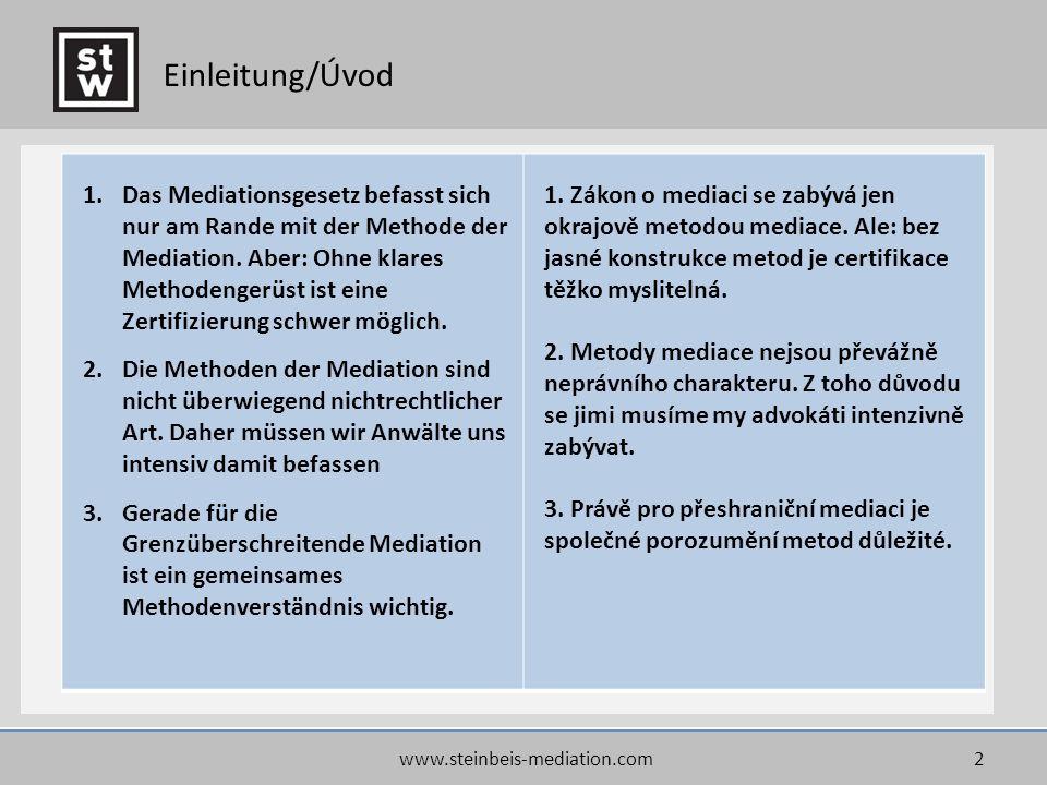 2 Einleitung/Úvod 1.Das Mediationsgesetz befasst sich nur am Rande mit der Methode der Mediation. Aber: Ohne klares Methodengerüst ist eine Zertifizie