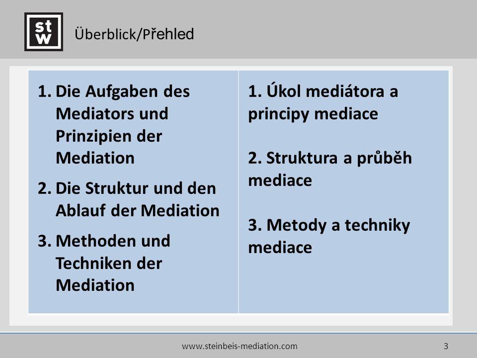 www.steinbeis-mediation.com3 Überblick/P řehled 1.Die Aufgaben des Mediators und Prinzipien der Mediation 2.Die Struktur und den Ablauf der Mediation