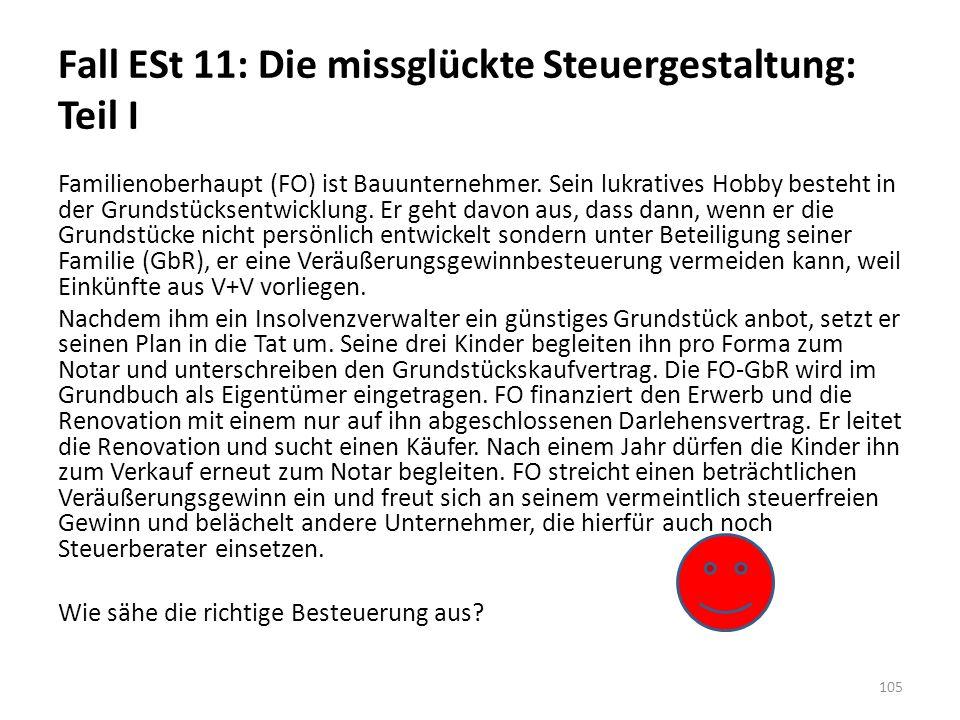 Fall ESt 11: Die missglückte Steuergestaltung: Teil I Familienoberhaupt (FO) ist Bauunternehmer.