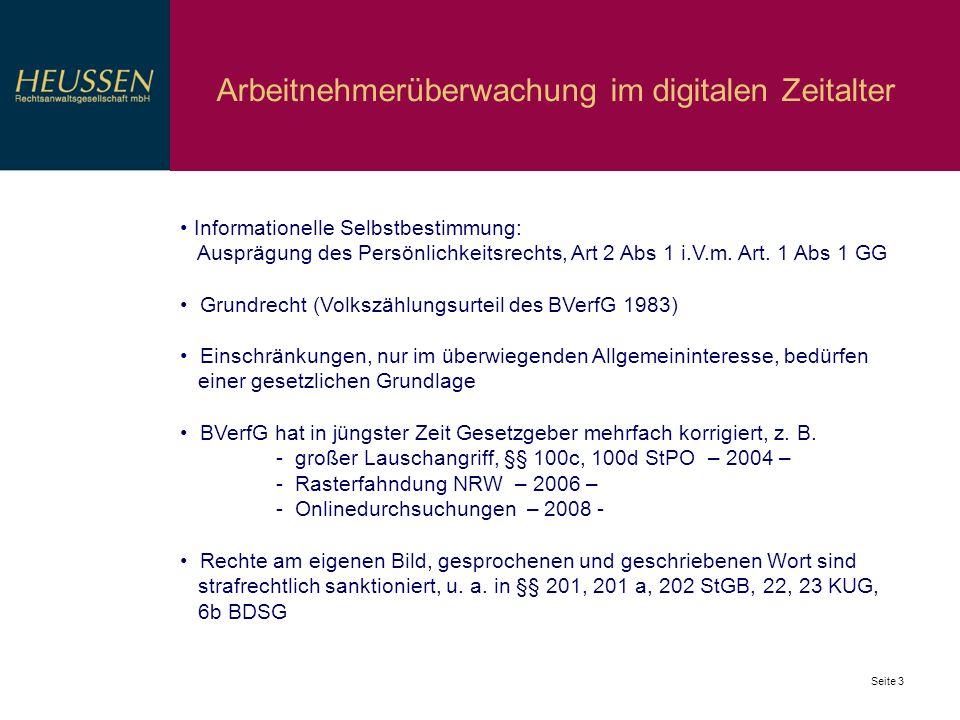 Seite 3 Arbeitnehmerüberwachung im digitalen Zeitalter Informationelle Selbstbestimmung: Ausprägung des Persönlichkeitsrechts, Art 2 Abs 1 i.V.m. Art.