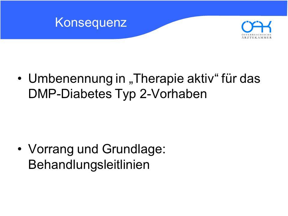 Konsequenz Umbenennung in Therapie aktiv für das DMP-Diabetes Typ 2-Vorhaben Vorrang und Grundlage: Behandlungsleitlinien